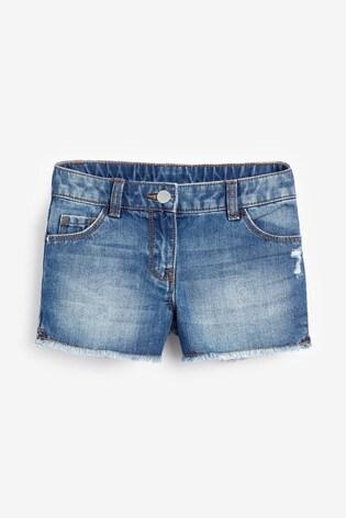 Mid Blue Frayed Hem Denim Shorts (3-16yrs)