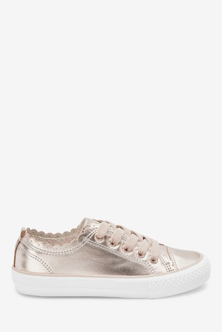 Rose Gold Scalloped Lace-Up Trainers (Older)
