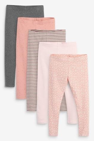 Pink 5 Pack Leggings (3-16yrs)