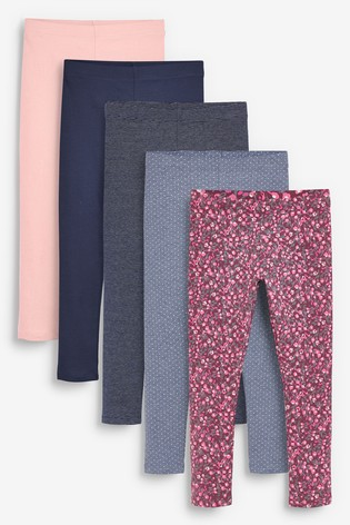 Berry Floral 5 Pack Leggings (3-16yrs)