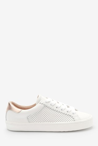 White Leather Lace-Up Trainers (Older)