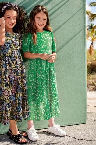 Green Printed Puff Sleeve Maxi Dress (3-16yrs)