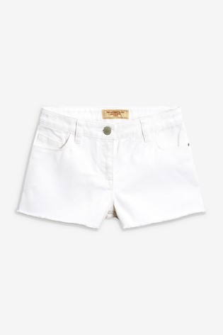 White Frayed Hem Denim Shorts (3-16yrs)