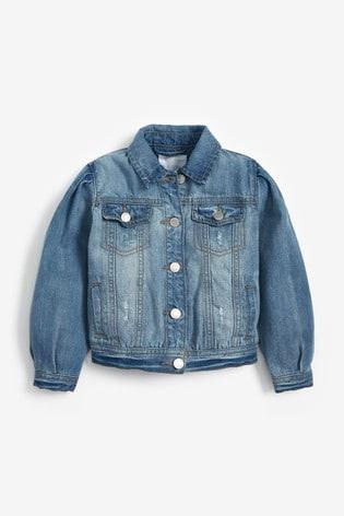Blue Denim Volume Sleeve Jacket (3-16yrs)