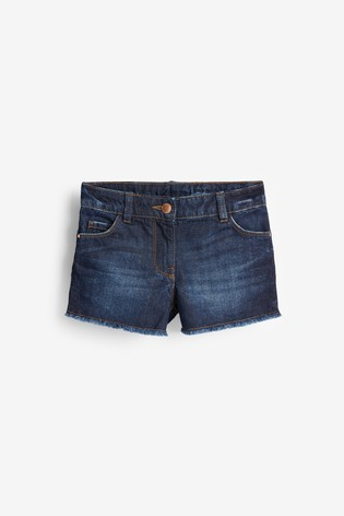 Dark Blue Frayed Hem Denim Shorts (3-16yrs)