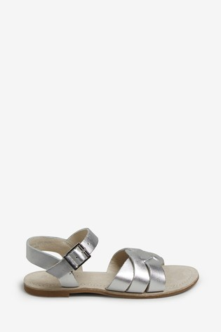 Silver Woven Leather Sandals (Older)