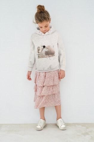 Pink Metallic Waistband Floral Skirt (3-16yrs)
