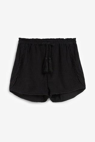 Black Trim Detail Shorts (3-16yrs)