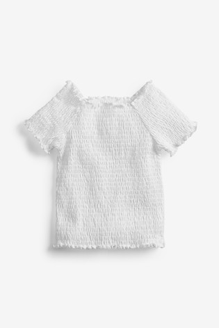 White Shirred Top (3-16yrs)