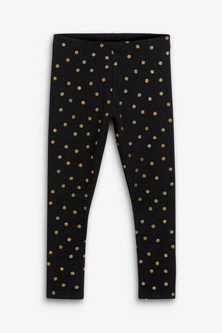 Black Glitter Spot Leggings (3-16yrs)