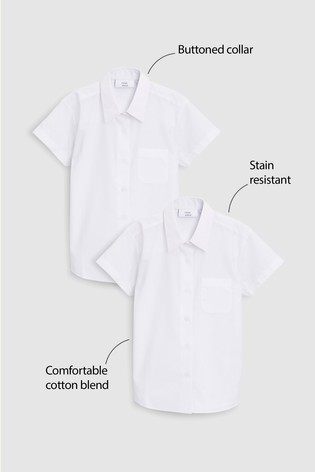 White 2 Pack Short Sleeve Formal Shirts (3-16yrs)