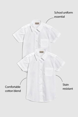 White 2 Pack Short Sleeve Formal Shirts (3-16yrs)