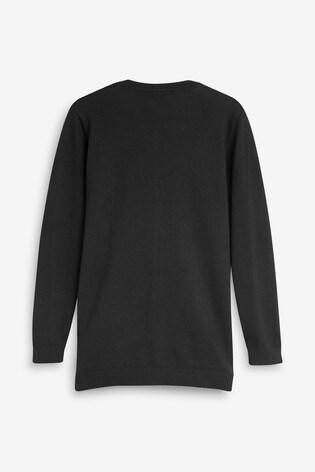 Black Longer Length V-Neck Cardigan (3-16yrs)