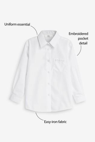 White Embellished Pocket Long Sleeve Shirt (3-16yrs)