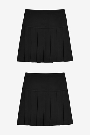 Black Longer Length 2 Pack Pleat Skirts (3-16yrs)