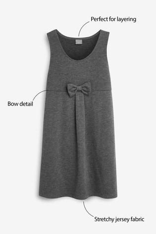 Grey Jersey Bow Pinafore (3-14yrs)