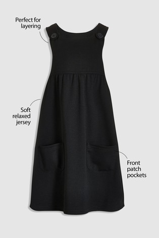 Black Jersey Pinafore Dress (3-14yrs)