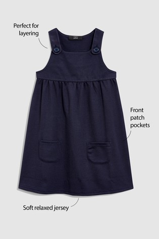 Navy Jersey Pinafore Dress (3-14yrs)