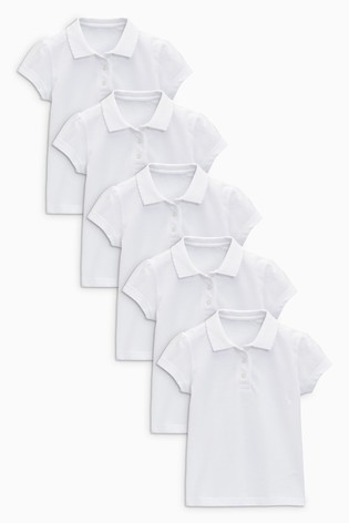 White 5 Pack Slim Fit Short Sleeve Poloshirts (3-16yrs)