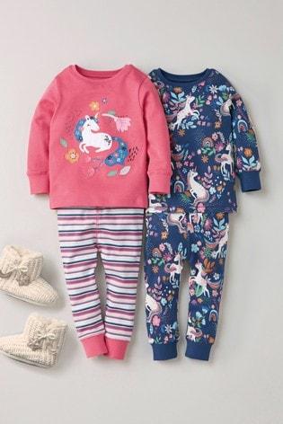 Pink/Navy 2 Pack Unicorn Snuggle Pyjamas (9mths-8yrs)
