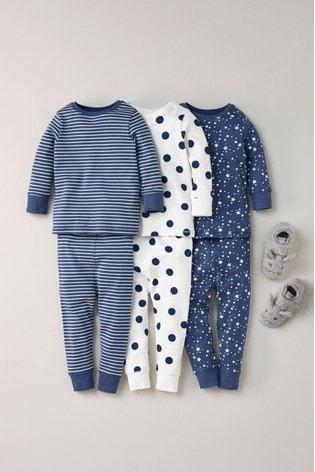 Navy/White 3 Pack Star/Stripe Snuggle Pyjamas (9mths-16yrs)