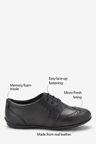 Black Leather Lace-Up Brogues (Older