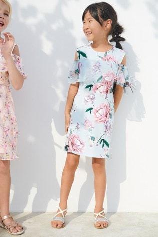 Blue/Pink Floral Dress (3-16yrs)