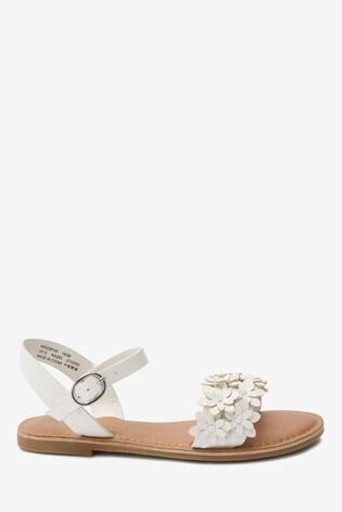 White Flower Embellished Sandals (Older)