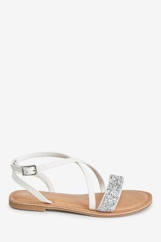 White Cross Strap Sandals (Older)