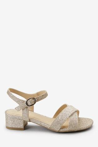 Gold Glitter Heel Sandals