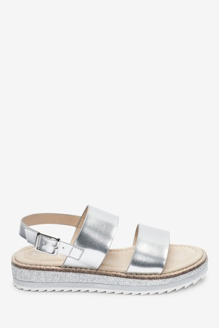 Silver Wedge Glitter Sandals (Older)