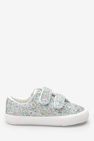 Silver Glitter Touch Fastening Trainers (Younger)