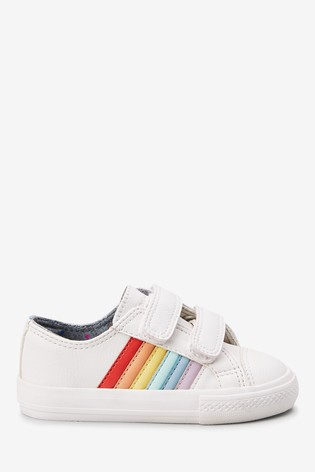 White Rainbow Touch Fastening Trainers (Younger)