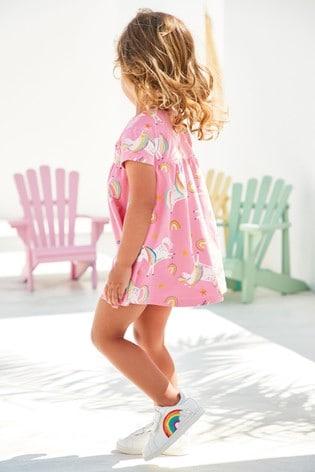 Bright Pink Unicorn Jersey Dress (3mths-8yrs)
