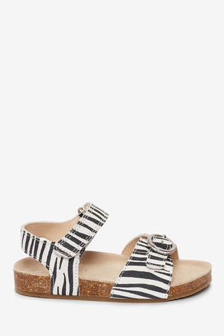 Monochrome Corkbed Leather Buckle Sandals (Younger)