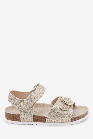 Gold Glitter Corkbed Leather Buckle Sandals (Younger)