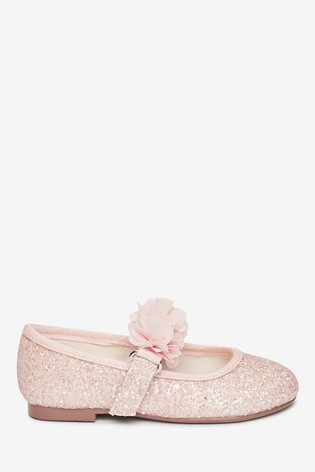 Pink Glitter Occasion Corsage Mary Jane Shoes (Younger)