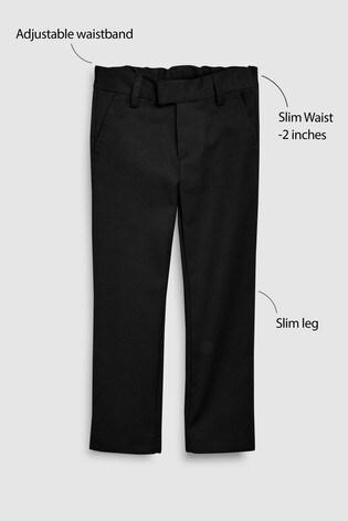 Black Slim Waist Formal Slim Leg Trousers (3-16yrs)