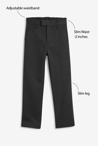 Grey Slim Waist Formal Slim Leg Trousers (3-16yrs)