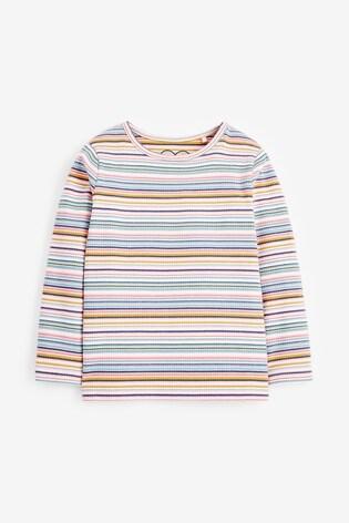 Multicolour Stripe Long Sleeve Rib T-Shirt (3mths-8yrs)