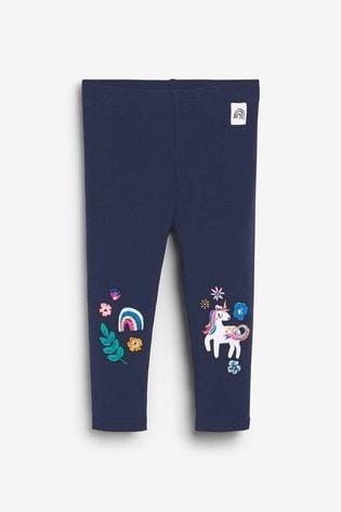 Navy Unicorn Embellished Leggings (3mths-7yrs)