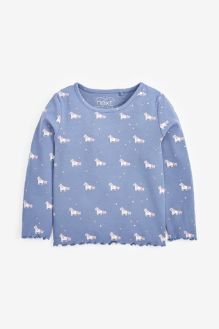 Blue Unicorn Long Sleeve Rib T-Shirt (3mths-8yrs)