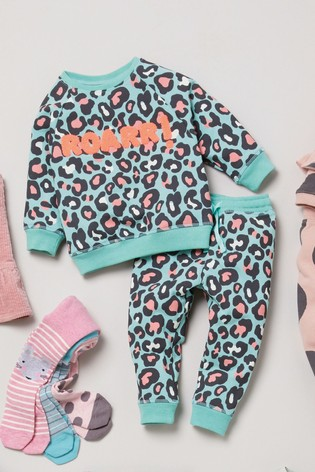Teal Leopard Co-ord Set (3mths-7yrs)