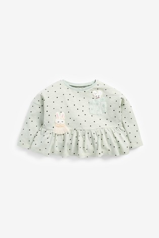 Mint Bunny Peplum T-Shirt (3mths-7yrs)