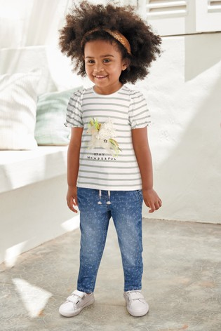 Mid Blue Floral Frill Pocket Jeans (3mths-7yrs)