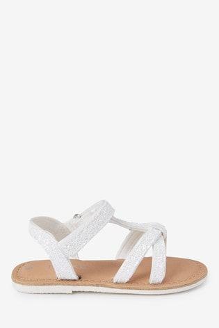 White Glitter T-Bar Sandals (Younger)
