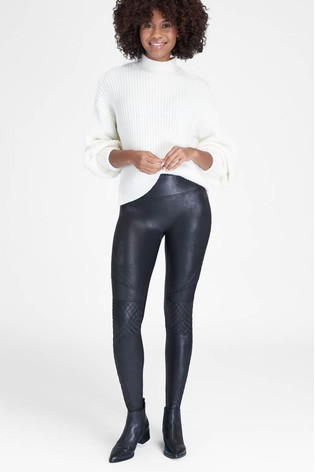 SPANX® Medium Control Faux Leather Quilted Shaping Leggings