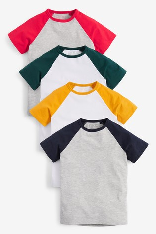 Multi 4 Pack Raglan T-Shirts (3-16yrs)