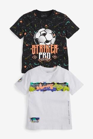 Multi 2 Pack Football Graphic T-Shirts (3-16yrs)