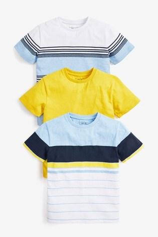 Multi 3 Pack Colourblock Stripe T-Shirts (3-16yrs)